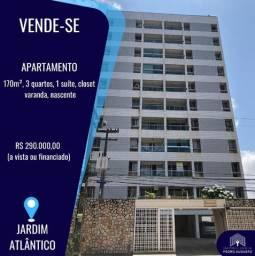 Oportunidade! Apto 130m², 3 Qts, elevador e central gás em Jardim Atlântico