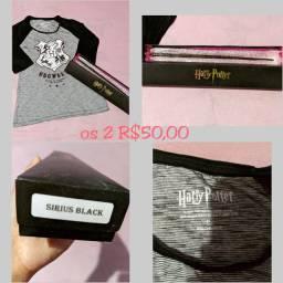 Camisa e varinha Harry Potter