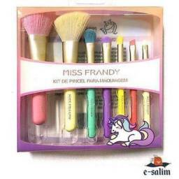 kit pincéis de maquiagem miss frandy unicórnio