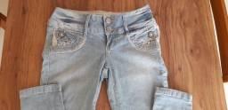 Calça jeans clara 38 com renda