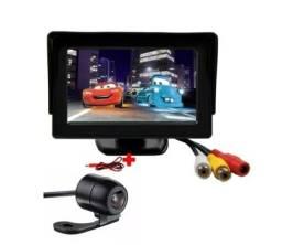 Kit Tela para carro 4.3 Vídeo Lcd + câmera ré