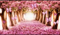 Painel Mega Banner Ipê Rosa Borboleta Flores Paisagem 3,00 x 2,00M