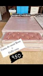 Cama de casal cor de Rosa +Puff Rosa