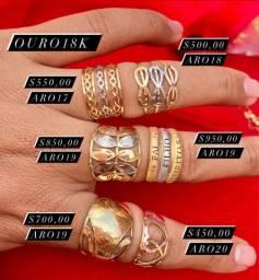 Lindos anéis em ouro 18k