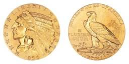 Moeda Coin Dourada Índian e Águia Liberty 1929 Five dollars Colecionador Coleção