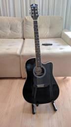 Violão eletroacústico harmonics GE-30bk + suporte + cabo + curso violão fingerstyle