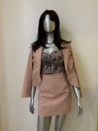 Blazer rose + saia + blusa