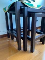 Conjunto de 3 mesas TokStok - tampo de vidro