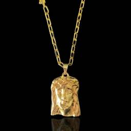 Corrente Cartie 6mm Pingente Face Cristo- Banhado A Ouro 18k