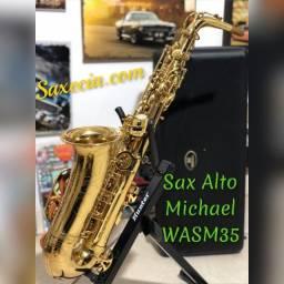 Sax Alto Dourado - Revisado - Higienizado - Completo - Pronto