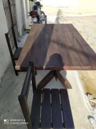 Mesa pronta com 6 cadeiras jatobá pra vender