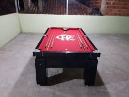 Mesa de Sinuca | Mesa Preta | Tecido Vermelho | Flamengo | Modelo: QFQD4683