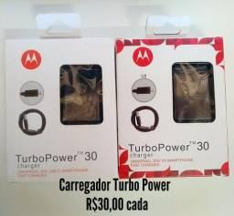 """Carregador Turbo Power tipo """"C"""" ou V8 (micro USB)"""
