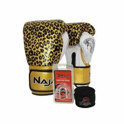 85d743aa1 Kit Luva Boxe Muay Thai Naja Animal Print