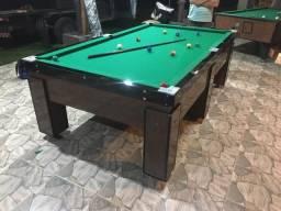 Mesa de Bilhar Gaveta Freijó Tecido Verde 2,42 x 1,42 Residencia e Comercial
