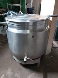 Caldeira industrial e uma rampa fria pra salada e comida chinesa