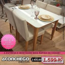 Mesa com 4 cadeiras madeira maciça Promoção!