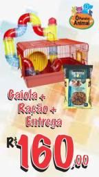 Kit hamster - Gaiola Tubo Luxo + Ração + Entrega