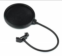 Pop Filter Tela Anti Sopro com Haste Flexível para Microfone