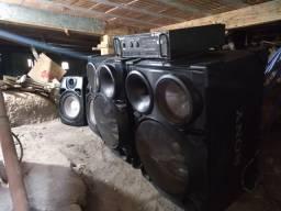 2 caixas de som SH-2000 + Amplificador Appotek AK4400 + 2 auto falantes 40cm