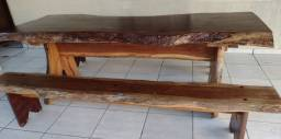 Mesa Rústica Com 2Bancos