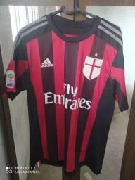 Camisa Milan Home 15/16 s/nº Torcedor Adidas Masculina - Preto+Vermelho<br><br>