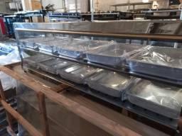 Estufa quente vidro reto 10 bandeija dupla