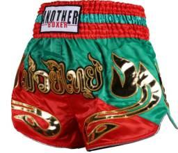 Short Muay thai, vermelho/verde Tam.G