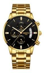 Relógio Blindado Nibosi Masculino Anti-risco Funcional Luxo Preto ou Dourado