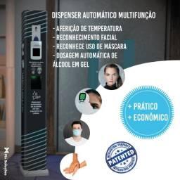 Totem dispenser automático de álcool em gel com termometro e reconhecimento facial