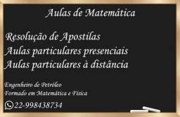 Aulas de Matemática e Resolução de exercícios