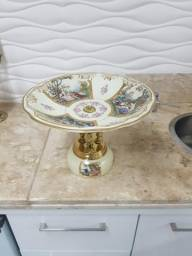 Fruteira Italiana em Porcelana e Bronze