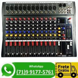 Mesa de Som Lelong 12 Canais Le712 Bluetooth Usb Profissional (NOVO)
