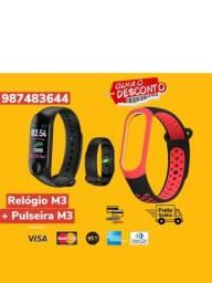 Relógio Smartwhatch Inteligente M3 Bluetooth Batimentos Passos Notificação + Pulseira M3