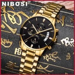 Nibose Relógios Masculino Luxo Ouro  Inoxidável prova agua De Quartzo Homens Masculino