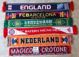 Kit com 5 cachecóis clubes internacionais