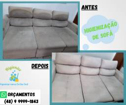Higienização de sofá, cadeira, poltrona, colchões, tapete e limpeza e hidratação em couro
