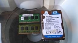 HD 320 mais 2 memoria 2 Gigas cada de notebook ddr 3