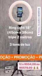 """Ring Light 18"""" com tripé de 2 metros *3 tons de luz"""