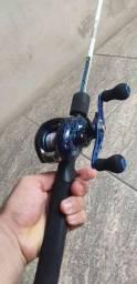 Carretilha+Vara+Linha (kit de pesca)