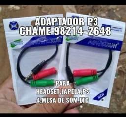 Cabo adaptador p3/p2 para headset(frete grátis e pronta entrega)