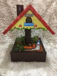 Casa passarinho com Mini jardim