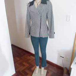 Casaco de lã xadrez veste P/M