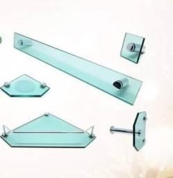 Kit 5 peças para banheiro de vidro