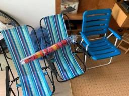 Cadeiras de de praia + guarda sol
