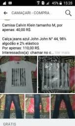 Camisa Calvin Klein e calça jeans John John