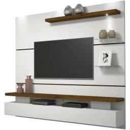 Painel Suspenso Dj Móveis Para Tv Até 42 Polegadas Greco Branco Brilho Com Rústico Malbec