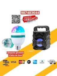 *Combo*Lâmpada Giratoria Led Festa + Caixa de Som Bluetooth