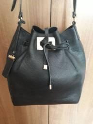 Bolsa couro legítimo preta