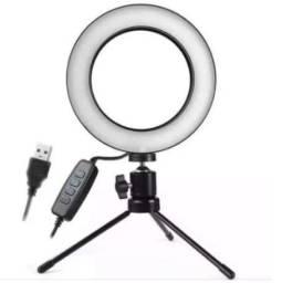 Ring Light LED 6 Polegadas Iluminador FHS-16 com Tripé de Mesa 10cm Profissional
